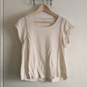 Madewell cream T-shirt with eyelet seam detail